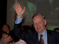 may 14, 2003, Montreal, Quebec, Canada.<br /> <br /> Jean Chretien, Prime Minister of Canada and  Leader of Canada Liberal Party attend the annual Liberal party benefit dinner in Montreal, for the last time as Prime Minister,  May 14, 2003.<br /> <br /> Chretien will step downas leader of the party and as Prime Minister in January 2004 and is most likely to be replaced by former Minister and Finances Paul Martin.<br /> <br /> Mandatory Credit: Photo by Pierre Roussel- Images Distribution. (©) Copyright 2003 by Pierre Roussel