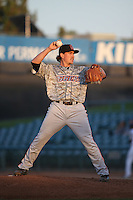 Zach Hartman (14) of the Inland Empire 66ers pitches against the Lancaster JetHawks at The Hanger on September 3, 2016 in Lancaster, California. Lancaster defeated Inland Empire, 7-6. (Larry Goren/Four Seam Images)