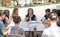 Jennifer Piscopo, Assistant Professor, Politics.<br /> Individual faculty advising appointments in the Academic Quad for incoming first-years at the start of Occidental College's Fall Orientation for the class of 2021, Aug. 25, 2017.<br /> (Photo by Marc Campos, Occidental College Photographer)