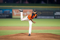 AZL Giants starting pitcher Keenan Bartlett (14) follows through on his delivery against the AZL Rangers on September 4, 2017 at Scottsdale Stadium in Scottsdale, Arizona. AZL Giants defeated the AZL Rangers 6-5 to advance to the Arizona League Championship Series. (Zachary Lucy/Four Seam Images)