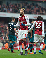 Arsenal's Pierre - Emerick Aubameyang after scoring during the EPL - Premier League match between Arsenal and Southampton at the Emirates Stadium, London, England on 8 April 2018. Photo by Andrew Aleksiejczuk / PRiME Media Images.