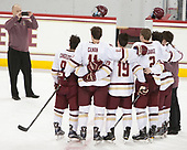 Austin Cangelosi (BC - 9), Chris Calnan (BC - 11), Ryan Fitzgerald (BC - 19), Scott Savage (BC - 2), Matthew Gaudreau (BC - 21) and Brian Hurley (BC - Student Manager) pose for John Hegarty (BC - Director-HockeyOps). - The Boston College Eagles defeated the University of Vermont Catamounts 7-4 on Saturday, March 11, 2017, at Kelley Rink to sweep their Hockey East quarterfinal series.The Boston College Eagles defeated the University of Vermont Catamounts 7-4 on Saturday, March 11, 2017, at Kelley Rink to sweep their Hockey East quarterfinal series.