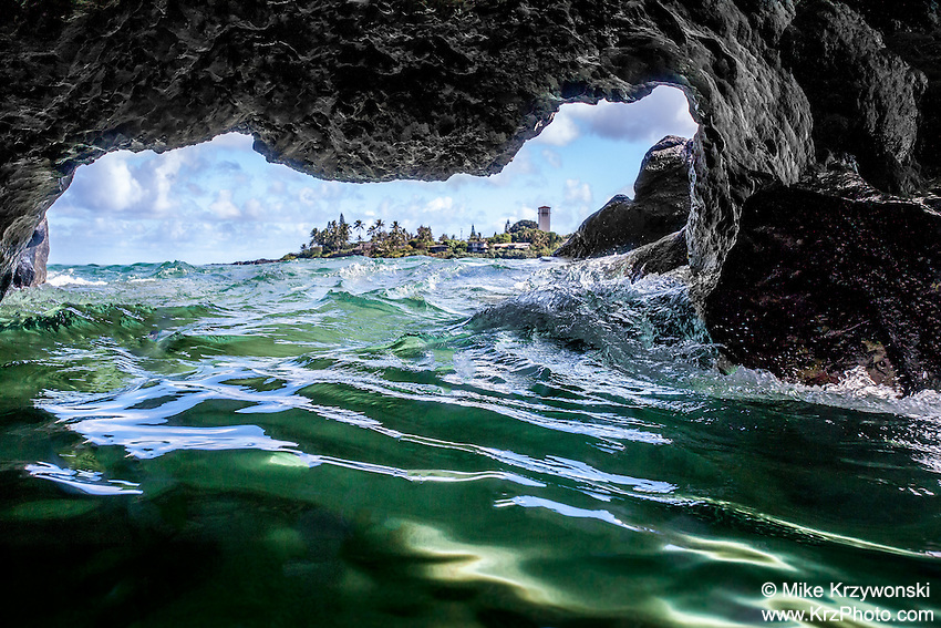 View of Waimea Bay from the inside an ocean cave at Waimea Bay, North Shore, Oahu