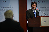 Washington, DC - July 11, 2014: Japanese Defense Minister Itsunori Onodera listens to a question about Japan's defense policy at the Center for Strategic and International Studies in the District of Columbia, July 11, 2014.  (Photo by Don Baxter/Media Images International)