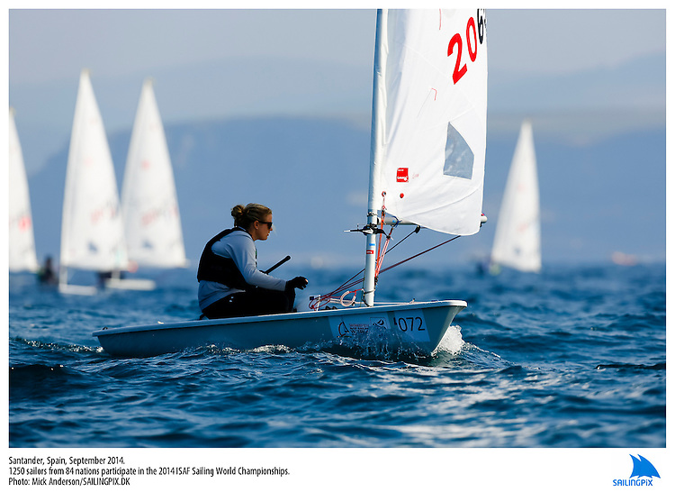 20140912, Santander, Spain: 2014 ISAF SAILING WORLD CHAMPIONSHIPS - More than 1,250 sailors in over 900 boats from 84 nations will compete at the Santander 2014 ISAF Sailing World Championships from 8-21 September 2014. The best sailing talent will be on show and as well as world titles being awarded across ten events 50% of Rio 2016 Olympic Sailing Competition places will be won based on results in Santander. Sailor(s): Laser Radial - USA206526 - Claire DENNIS. Photo: Mick Anderson/SAILINGPIX.DK. Keywords: Sailing, water, sport, ocean, boats, olympic, dinghy, dinghies, crew, team, sail. Filename: SailingWorlds2014_MICK-2363.jpg.