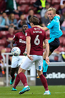 Fleetwood Town's Kyle Dempsey competing with Northampton Town's Ash Taylor <br /> <br /> Photographer Andrew Kearns/CameraSport<br /> <br /> The EFL Sky Bet League One - Northampton Town v Fleetwood Town - Saturday August 12th 2017 - Sixfields Stadium - Northampton<br /> <br /> World Copyright &copy; 2017 CameraSport. All rights reserved. 43 Linden Ave. Countesthorpe. Leicester. England. LE8 5PG - Tel: +44 (0) 116 277 4147 - admin@camerasport.com - www.camerasport.com
