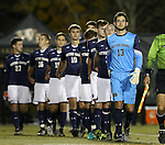 11 November 2015: Notre Dame's Chris Hubbard (13) leads his teammates onto the field. The Wake Forest University Demon Deacons hosted the University of Notre Dame Fighting Irish at Spry Stadium in Winston-Salem, North Carolina an Atlantic Coast Conference Tournament Semifinal game and a 2015 NCAA Division I Men's Soccer match. Notre Dame won the game 1-0 and advanced to the ACC Championship final.