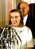 "Prime Minister Golda Meir of Israel and United States Senator Jacob Javits (Republican of New York) meet reporters in the US Senate Foreign Relations hearing room in the US Capitol in Washington, DC on September 16, 1970.<br /> Credit: Benjamin E. ""Gene"" Forte / CNP"