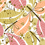 Stock vector seamless repeatable pattern tile of autumn leaves, dragon flies and fall berries in pastel colors with white background. <br /> <br /> Available also as latest EPS format (Scalable to infinite size) and PNG format.<br /> <br /> WANT TO SEE HOW THIS WILL  LOOK WHEN ARRANGED AS A PATTERN?<br /> <br /> You can find the image of whole pattern put together in this gallery only.<br /> <br /> Tip: It should be the image next to this one, or, just search &quot;seamless+dragonfly&quot;!