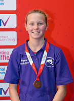 Picture by Allan McKenzie/SWpix.com - 05/08/2017 - Swimming - Swim England National Summer Meet 2017 - Ponds Forge International Sports Centre, Sheffield, England - Imogen Lambert takes bronze in the womens 12/13yrs 50m breaststroke.
