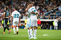 Real Madrid Achraf Hakimi and Marcelo celebrating a goal during La Liga match between Real Madrid and Celta de Vigo at Santiago Bernabeu Stadium in Madrid, Spain. May 12, 2018. (ALTERPHOTOS/Borja B.Hojas) /NORTEPHOTOMEXICO