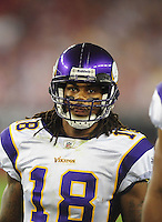 Dec 6, 2009; Glendale, AZ, USA; Minnesota Vikings wide receiver (18) Sidney Rice against the Arizona Cardinals at University of Phoenix Stadium. The Cardinals defeated the Vikings 30-17. Mandatory Credit: Mark J. Rebilas-