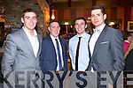 Fiachna Mangan John Denis Fergal McNamara and Barry Shanahan, pictured at the Stacks social on Saturday night, held in the Meadowlands Hotel, Tralee.