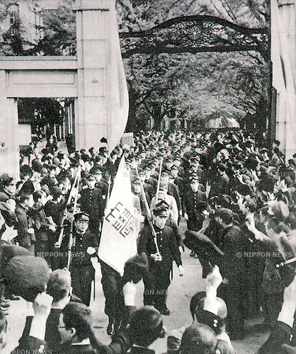 Undated - Students of Tokyo Imperial University were conscripted during the World war II, Pacific War.(Photo by Kingendai Photo Library/AFLO)