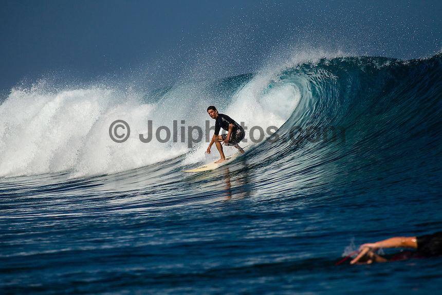 Namotu Island Resort, Fiji. (Sunday, September 8, 2012) -  There was virtually no wind this morning with Cloudbreak, Namotu Lefts and Wilkes providing waves in the 4' range.  Photo: joliphotos.com