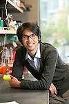 Lawrence David, Assistant Professor in Duke University 's Department of Molecular Genetics and Microbiology, Center for Genomics & Computational Biology, and Computational Biology & Bioinformatics Program, in his lab in the CIEMAS building. David's lab seeks to understand, predict, and manipulate how human microbiota behave over time.