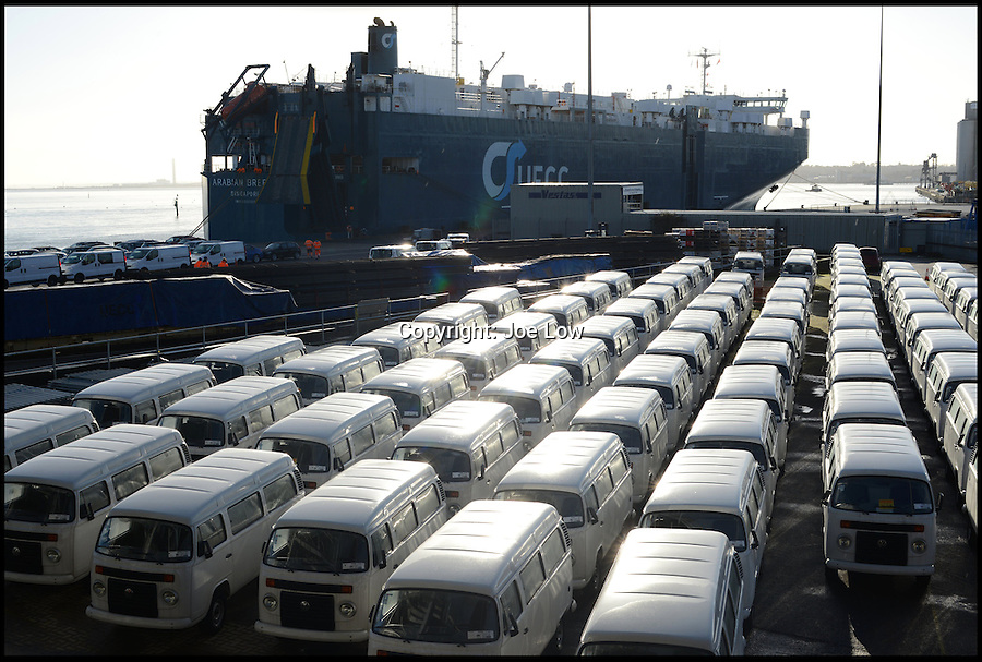BNPS.co.uk (01202 558833)<br /> Pic: Danbury/BNPS<br /> <br /> ****Please use full byline****<br /> <br /> The last VW campervans arrived at Southampton docks. <br /> <br /> The last ever delivery of brand new Volkswagen campervans has arrived in Britain marking the end of an era for the iconic 'hippy bus'.<br /> <br /> Ninety nine of the final batch of vans rolled off the production line and onto a container ship bound for British shores after manufacture ceased for good in Brazil in December.<br /> <br /> And though the consignment has only just arrived, almost all of the vans have already been snapped up by eager buyers happy to fork out the £35,000 starting price.<br /> <br /> They are the last brand new campers in all of Europe.
