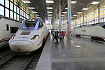 RENFE trains at platform railway station building interior, Cadiz, Spain