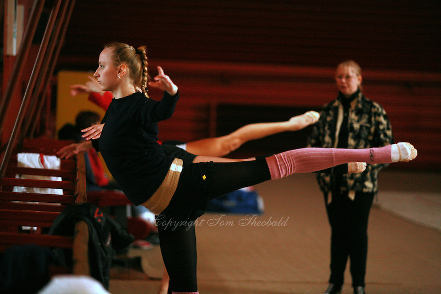 Vera Sessina of Russia trains ballet before Burgas Grand Prix Rhythmic Gymnastics on May 5, 2006.  (Photo by Tom Theobald)
