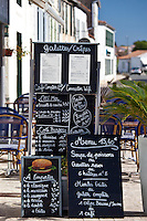 Pavement Cafe menu street scene in La Flotte, Ile de Re, France