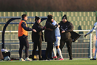 Jay Knight of Romford celebrates his opening goal with the management during Grays Athletic vs Romford, Bostik League Division 1 North Football at Parkside on 1st January 2018