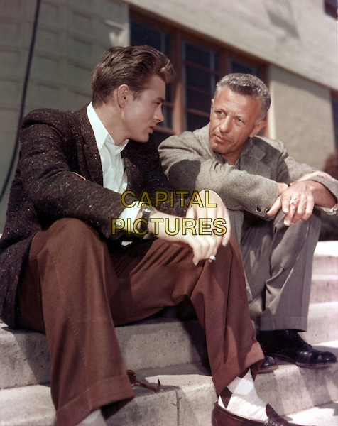 JAMES DEAN & NICHOLAS RAY (DIRECTOR).on the set of Rebel Without a Cause (1955) .*Filmstill - Editorial Use Only*.CAP/STF/PEL.Supplied by Capital Pictures.