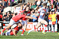 PICTURE BY ALEX WHITEHEAD/SWPIX.COM - Rugby League - Autumn International Series - Wales vs England - Glyndwr University Racecourse Stadium, Wrexham, Wales - 27/10/12 - England's Zak Hardaker makes a break.