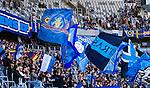 Stockholm 2014-04-27 Fotboll Allsvenskan Djurg&aring;rdens IF - IF Brommapojkarna :  <br /> Djurg&aring;rdens supportrar med flaggor<br /> (Foto: Kenta J&ouml;nsson) Nyckelord:  Djurg&aring;rden DIF Tele2 Arena Brommapojkarna BP supporter fans publik supporters
