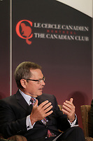 Jean-Rene Halde, President and CEO, Business Development Bank of Canada take part in a debate about Quebec's economy, at the Canadian Club of Montreal, June 1st 2015.<br /> <br /> Photo : Pierre Roussel - Agence Quebec Presse