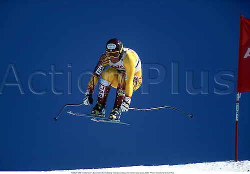 TOMMY MOE (USA), Men's Downhill, World Skiing Championships, Sierra Nevada, Spain, 9602. Photo: Glyn Kirk/Action Plus...skiing.1996.winter sport.winter sports.wintersport.wintersports.alpine.ski.skier.man