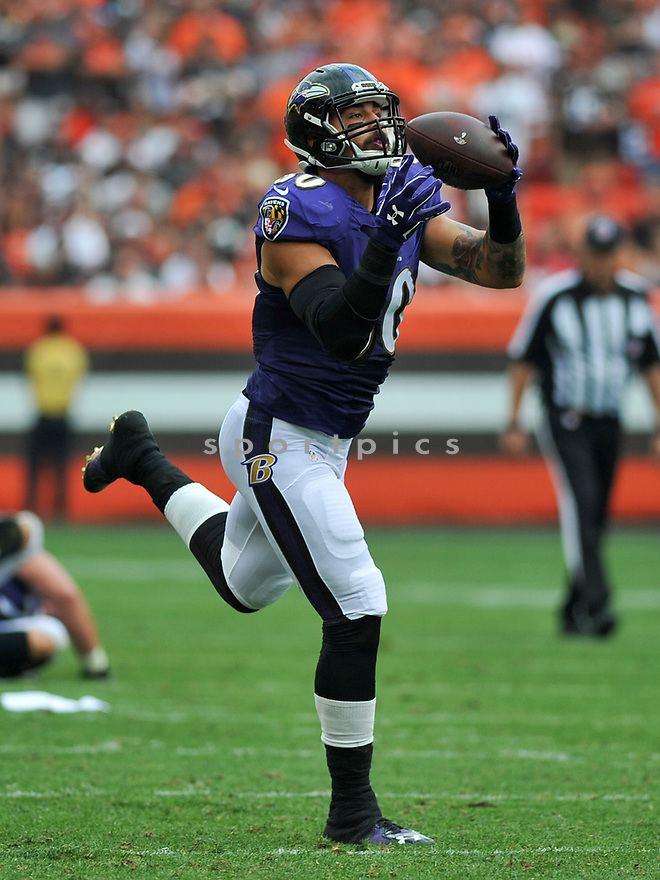 CLEVELAND, OH - JULY 18, 2016: Tight end Crockett Gilmore #80 of the Baltimore Ravens catches a pass in the third quarter of a game against the Cleveland Browns on July 18, 2016 at FirstEnergy Stadium in Cleveland, Ohio. Baltimore won 25-20. (Photo by: 2017 Nick Cammett/Diamond Images)  *** Local Caption *** Crockett Gilmore(SPORTPICS)