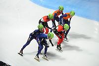 SCHAATSEN: DORDRECHT: Sportboulevard, Korean Air ISU World Cup Finale, 12-02-2012, Final Relay Men, Sjinkie Knegt NED (62), Daan Breeuwsma NED (59), Olivier Jean CAN (8), Remi Beaulieu-Tinker CAN (7), Yoon-Gy Kwak KOR (51), Da Woon Sin KOR (55), ©foto: Martin de Jong