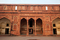 Agra, India.  Agra Fort, Jahangiri Mahal.  Juxtaposition of Indian Corbelled Arches with Islamic Pointed Arches.