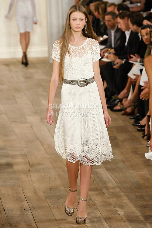 Model walks the runway in an outfit by Ralph Lauren, for his Ralph Lauren Spring 2011 collection fashion show, during Mercedes-Benz Fashion Week Spring 2011, on September 16th, 2010.