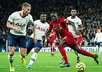 Liverpool's Sadio Mane passes the ball despite the attentions of Tottenham's Toby Alderweireld <br /> <br /> Photographer Stephanie Meek/CameraSport<br /> <br /> The Premier League - Tottenham Hotspur v Liverpool - Saturday 11th January 2020 - Tottenham Hotspur Stadium - London<br /> <br /> World Copyright © 2020 CameraSport. All rights reserved. 43 Linden Ave. Countesthorpe. Leicester. England. LE8 5PG - Tel: +44 (0) 116 277 4147 - admin@camerasport.com - www.camerasport.com