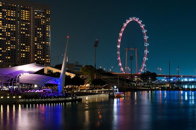Singapore Flyer At Night - The Esplanade  Outdoor Theatre and the Singapore Flyer at night, Marina Bay, Singapore