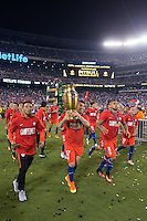 Photo during the awards ceremony after the match Argentina vs Chile, Corresponding to Great Final of the America Centenary Cup 2016 at Metlife Stadium, East Rutherford, New Jersey.<br /> <br /> <br /> Foto durante el festejo  despues del partido Argentina vs Chile, correspondiente a la Gran Final de la Copa America Centenario 2016 en el  Metlife Stadium, East Rutherford, Nueva Jersey, en la foto: Gary Medel levantan el trofeo de campeon de Chile<br /> <br /> <br /> 26/06/2016/MEXSPORT/Jorge Martinez.