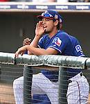Yu Darvish (Rangers),<br /> MARCH 6, 2016 - MLB :<br /> Yu Darvish of the Texas Rangers watches from the dugout during a spring training baseball game against the Seattle Mariners at Surprise Stadium in Surprise, Arizona, United States. (Photo by AFLO)