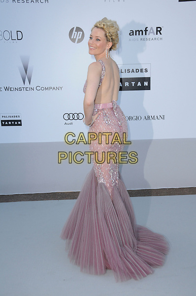 ELIZABETH BANKS.arrivals at amfAR's Cinema Against AIDS 2010 benefit gala at the Hotel du Cap, Antibes, Cannes, France during the Cannes Film Festival.20th May 2010.amfAR full length pink dusky fishtail dress silver beaded long maxi hand on hip back rear behind purple lilac pleated jewel encrusted gem .CAP/CAS.©Bob Cass/Capital Pictures.