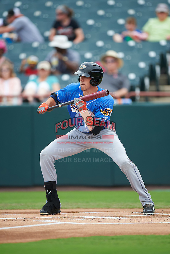 Akron RubberDucks center fielder Bradley Zimmer (6) squares to bunt during the first game of a doubleheader against the Bowie Baysox on June 5, 2016 at Prince George's Stadium in Bowie, Maryland.  Bowie defeated Akron 6-0.  (Mike Janes/Four Seam Images)