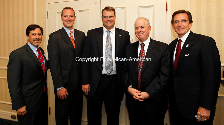 Southbury, CT- 13, September 2010-091310CM11 SOCIAL MOMENTS Eric Albert, Sean Williams, Chad Wable, John Tobin, and Jim Smith at the Saint Mary's Hospital Foundation annual Dinner of Champions.  Christopher Massa Republican-American
