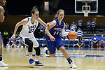 DURHAM, NC - NOVEMBER 26: Presbyterian's Janie Miles (14) and Duke's Rebecca Greenwell (23). The Duke University Blue Devils hosted the Presbyterian College Blue Hose on November 26, 2017 at Cameron Indoor Stadium in Durham, NC in a Division I women's college basketball game. Duke won the game 79-45.