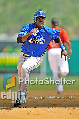 16 March 2008: New York Mets outfielder Victor Mendez in action during a Spring Training game against the Houston Astros at Osceola County Stadium, in Kissimmee, Florida...Mandatory Photo Credit: Ed Wolfstein Photo