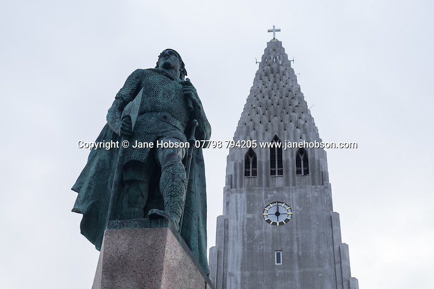 Hallgrímskirkja, a Lutheran parish church, designed by architect, Guðjón Samúelsson, commissioned in 1937. He is said to have designed it to resemble the basalt lava flows of Iceland's landscape. The statue of explorer Leif Eriksson (c. 970 – c. 1020) by Alexander Stirling Calder in front of the church predates its construction. It was a gift from the United States in honor of the 1930 Alþingi Millennial Festival, commemorating the 1000th anniversary of Iceland's parliament at Þingvellir in 930 AD.