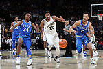 WINSTON-SALEM, NC - JANUARY 23: Wake Forest's Terrence Thompson (20) chases a loose ball with Duke's Gary Trent, Jr. (2) and Wendall Carter, Jr. (34). The Wake Forest University Demon Deacons hosted the Duke University Blue Devils on January 23, 2018 at Lawrence Joel Veterans Memorial Coliseum in Winston-Salem, NC in a Division I men's college basketball game. Duke won the game 84-70.