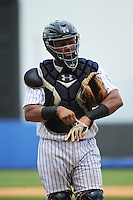 Staten Island Yankees catcher Isaias Tejeda (29) during game against the Mahoning Valley Scrappers at Richmond County Bank Ballpark at St.George on July 22, 2013 in Staten Island, NY.  Mahoning Valley defeated Staten Island 8-2.  Tomasso DeRosa/Four Seam Images