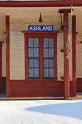 Ashland Railroad Station along the old the Boston and Maine Railroad in Ashland, New Hampshire USA during the winter months. Originally built around 1869, remodeled in 1891, and listed on the National Register of Historic Places in 1982, this station is now a museum operated by the Ashland Historical society.