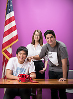 Campaign Semester students: Mickey Yao '18 (white t-shirt), who worked for Jacky Rosen for US House/Nevada; Meghan Hobbs '18, who worked for Jack Martins/ 3rd District NY; Ricardo Parada '18 (gray t-shirt) who worked at Nevada Coor. Campaign.<br /> Photographed Dec. 13, 2016 in the AGC Faculty Commons for Occidental Magazine.<br /> (Photo by Marc Campos, Occidental College Photographer)