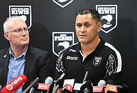 New Zealand Kiwis coach David Kidwell during a Rugby League World Cup press conference as NZRL CEO Alex Hayton looks on to annouunce the NZ Kiwis squad for the RLWC 2017. Auckland, New Zealand. Thursday 5 October 2017 © Copyright Photo: Andrew Cornaga / www.Photosport.nz copyright picture SWpix.com/Photosport NZ
