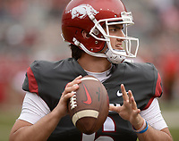 NWA Democrat-Gazette/ANDY SHUPE<br /> Arkansas quarterback Ben Hicks warms up Saturday, April 6, 2019, before the start of the Razorbacks' spring game in Razorback Stadium in Fayetteville. Visit nwadg.com/photos to see more photographs from the game.